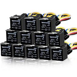 12 PACK 5 PIN SPDT Automotive Waterproof Relay Set Heavy Dut
