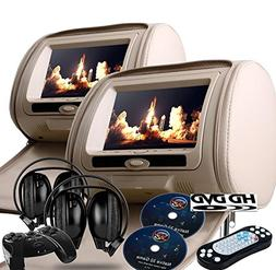 "2017 Tan Dual LED Digital 9"" Headrest Dvd Players Monitors U"