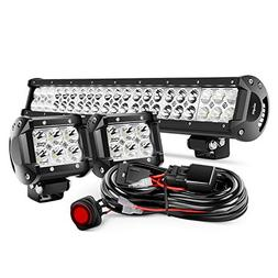 Nilight 20Inch 126W Flood Combo Road Light Bar 2PCS 18w 4Inc