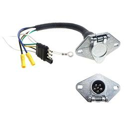 ANTO 4 Flat to 6 Way Round Pin  Round Plug Wiring Harness on