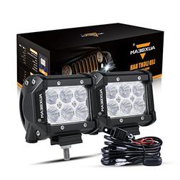 "Auxbeam 4"" LED Light Bar 18W LED Pods 6Pcs 3W CREE LEDs Off"