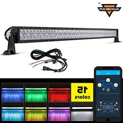 "Auxbeam 52"" 300W LED Light Bar 5D RGB Offroad Color Changing"