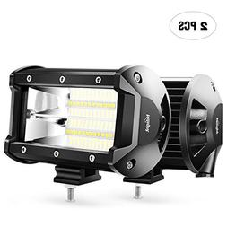 LED Light Bar Nilight 2PCS 5Inch 72W Flood Double Row Flood