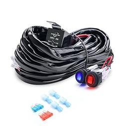 MICTUNING 2-Circuit 180W LED Light Bar Wiring Harness Kit w/