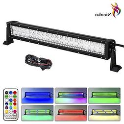 Nicoko 20/22 Inch 120w Straight Led Light Bar with Chasing R