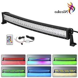 Nicoko 32 Inch 180w Curved Led Light Bar with Chasing RGB Ha