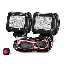 Nilight 2PCS 4 Inch 18W Flood Led Light Bars LED Work Lights