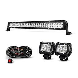 Nilight 32 Inch 180W Spot Flood Combo Led Light Bar 2PCS 4 I