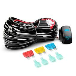 Nilight LED Light Bar Wiring Harness Kit 14AWG Heavy Duty 12