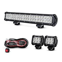 Nilight ZH002 20Inch 126W Flood Combo Road Light Bar 2PCS 18