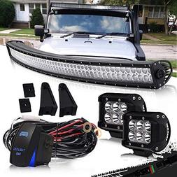 """DOT 52"""" Inch Curved Led Light Bar Combo Grill Windshield Bum"""