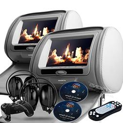 """GRAY Color Zipper Pair of Headrest 7"""" LCD Car Monitors with"""
