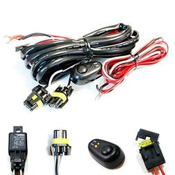 iJDMTOY  9005 9006 H10 Relay Harness Wire Kit with LED Light