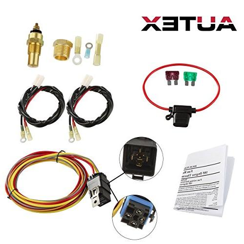 AUTEX NEW Dual Electric Cooling Fan 185 Degree On 165 Off Engine Fan Thermostat Temperature Switch 40//50 amp Relay Kit