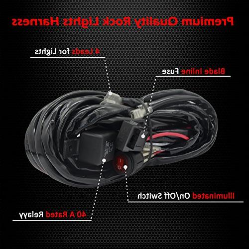 Ampper 4 Lead LED Rock LED Harness for LED Pods and Lights with 40A Waterproof On Off