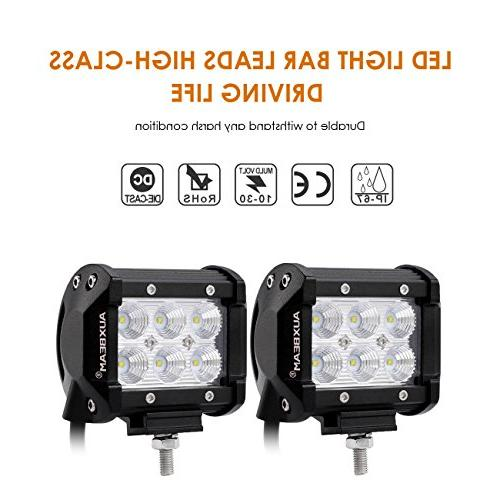 "Auxbeam 4"" LED Light Bar Pods 6Pcs 3W Off Flood LED Driving with Wiring"