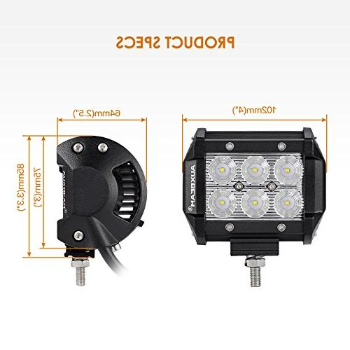 Auxbeam Bar 18W 6Pcs CREE Off Road Beam LED Driving Lights with Harness