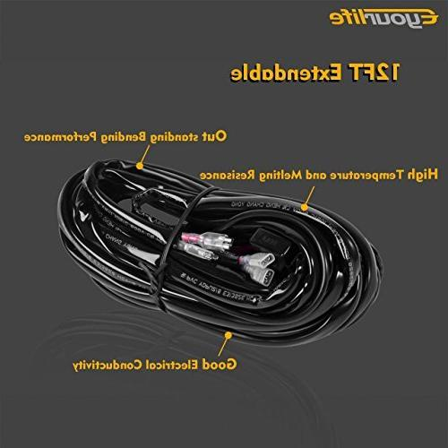 Eyourlife Wiring Harness, Light Bar Harness Kit 180W 12V Fuse Relay 14AWG Heavy Duty Universal Fitment
