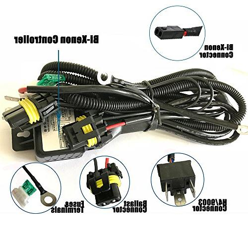 H4 Wiring Harness High Low Beam HID Kit Relay Harness H4/900