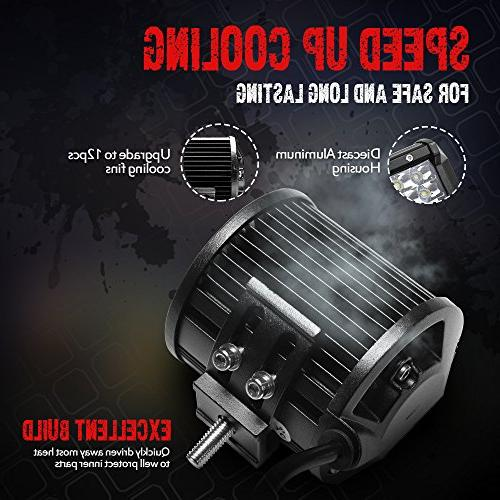 Pods, 2PCS 36W Flood 3240lm Off Road Driving Fog Lights for Jeep Rzr ATV SUV Pickup Motorcycle