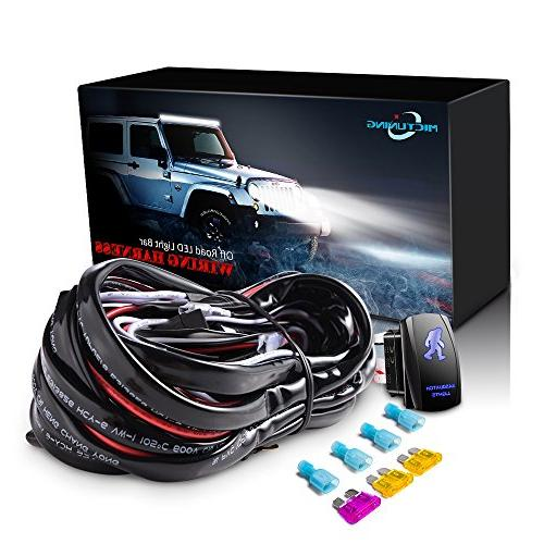 MICTUNING LED Light Bar Wiring Harness Fuse 40Amp Relay ON-O