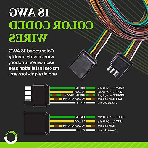 ONLINE LED Flat Wishbone-Style Wiring Harness Kit with Flat Connector for or Trailers