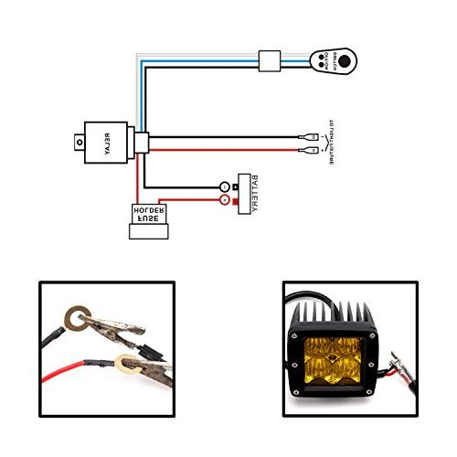 Senlips Light Bar Wiring Harness, 10ft 12V 40A Wiring Relay for Off Road Led Bar Driving within