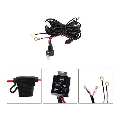 Senlips Light Bar Universal Wiring Harness, 12V 40A Wiring Kit, Relay ON/OFF Mouse Bar Driving within
