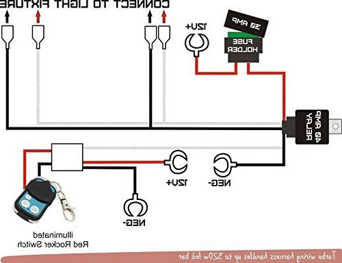 TURBOSII Remote Control Wiring Harness Led Bar Two Lead Switch Relay for Work Lights Off Driving