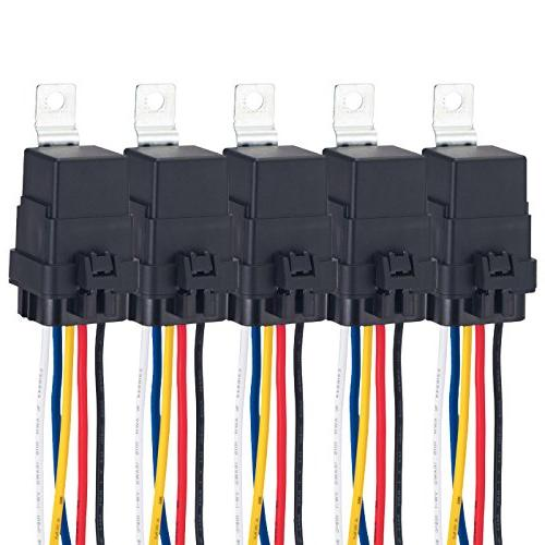 VLUXPARTS 5 Pack 40/30 Amp Waterproof Relay Switch Harness S