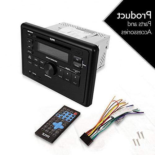Pyle Double Dash Stereo Head Unit Wall RV Audio Video System with CD DVD Player, USB