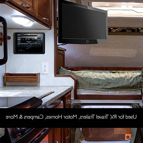 Pyle Unit - Wall Mount RV System with Radio, CD DVD USB Control, and Harness -