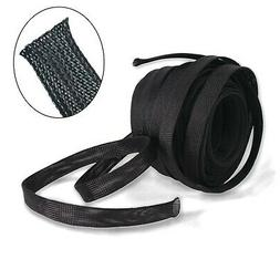"""1//2/"""" X 100/' New Wang-Data PET Black Braided Cable Sleeve 1//2 inch X 100ft"""