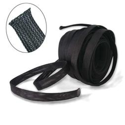 Wang-Data PET Black Braided Cable Sleeve 1 inch X 100ft